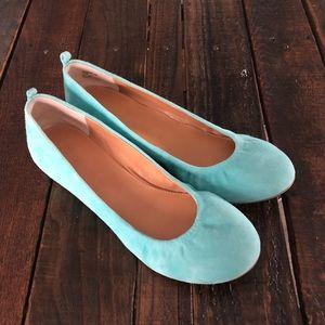 Audrey Brooke Teal Leather Ballet Flats